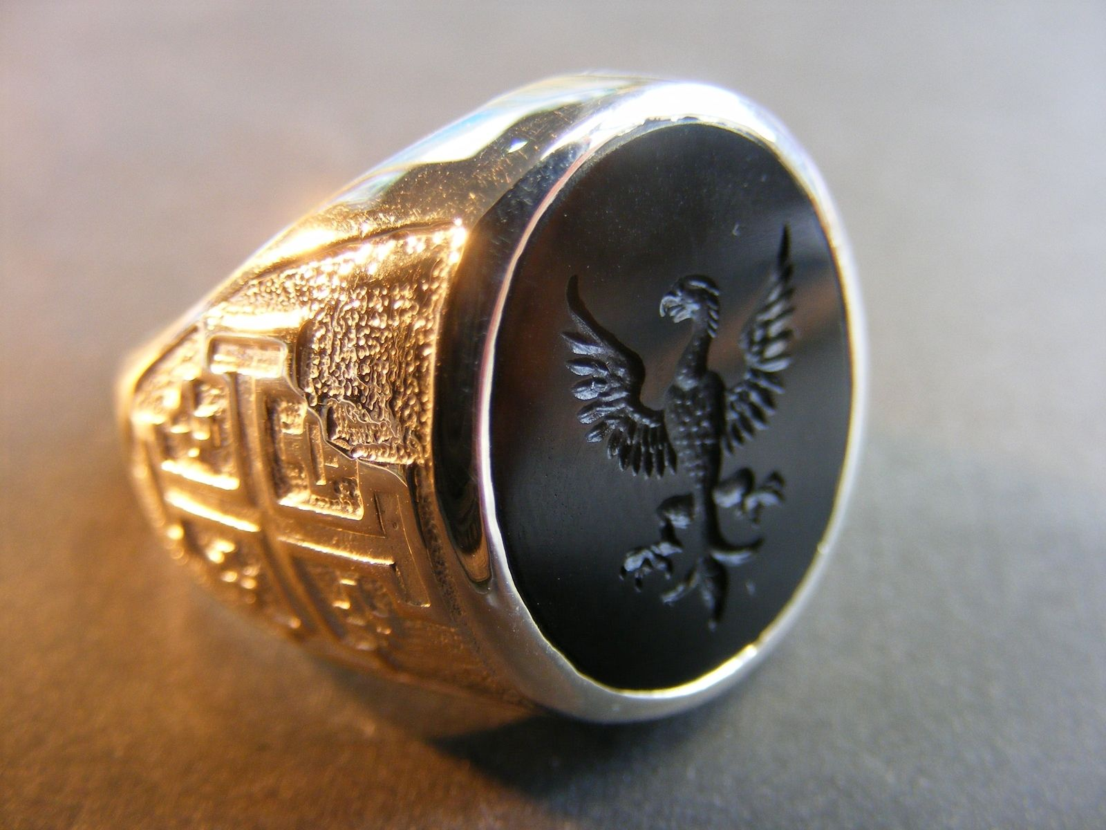 Custom Made Mens Engraved Black Onyx Crest Ring By The Regnas Collection