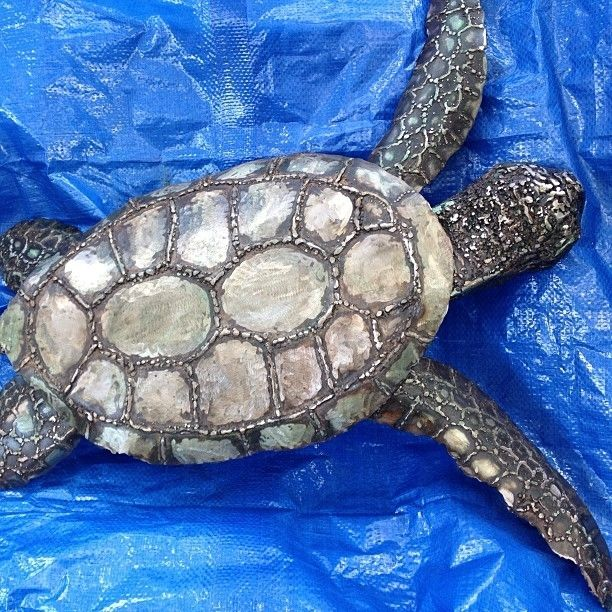 Hand Crafted Metal Sculpture Of A Sea Turtle By Custom
