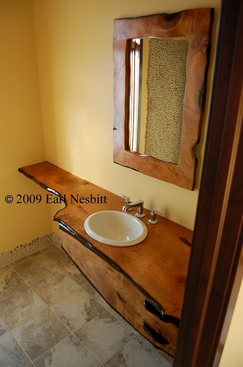 Hand crafted bathroom vanity mirror solid mesquite by for Custom made bathroom mirrors