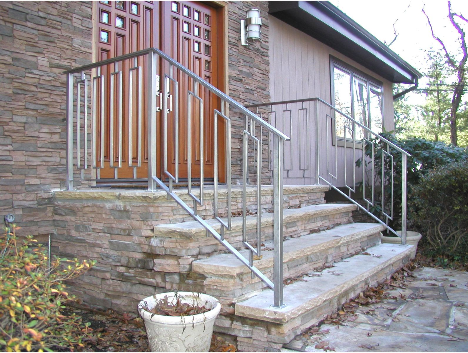 Custom made greenan exterior entry railing by eric david for Exterior railings