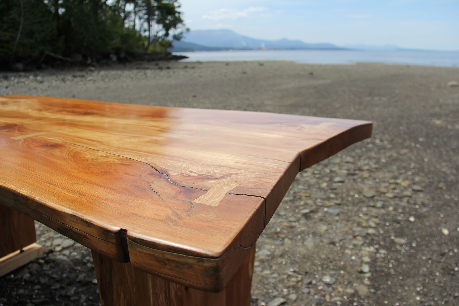 Hand Crafted Live Edge Arbutus Madrone Slab Table Desk
