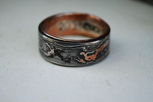 Hand Made Pattern Welded Damascus Woodgrain Wedding Band