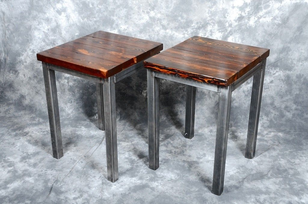 Handmade Reclaimed Wood And Steel End Tables By Iron