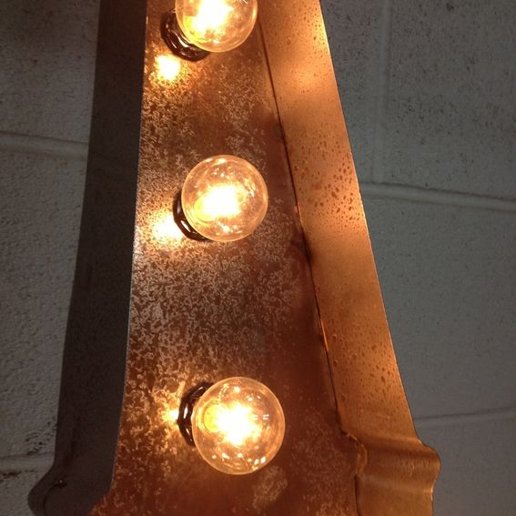 Eiffel Tower Marquee Light: Hand Crafted Vintage Metal Letter Light Eiffel Tower Sign
