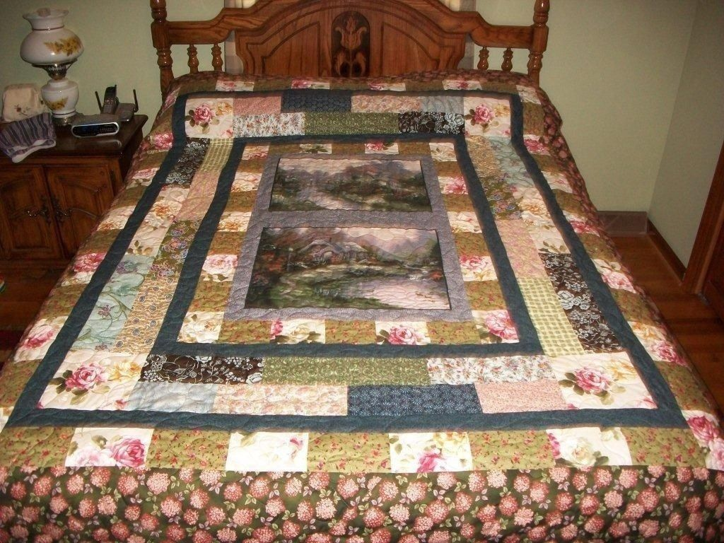 Handmade Lovely Stripped Custom Quilt With Thomas Kinkade