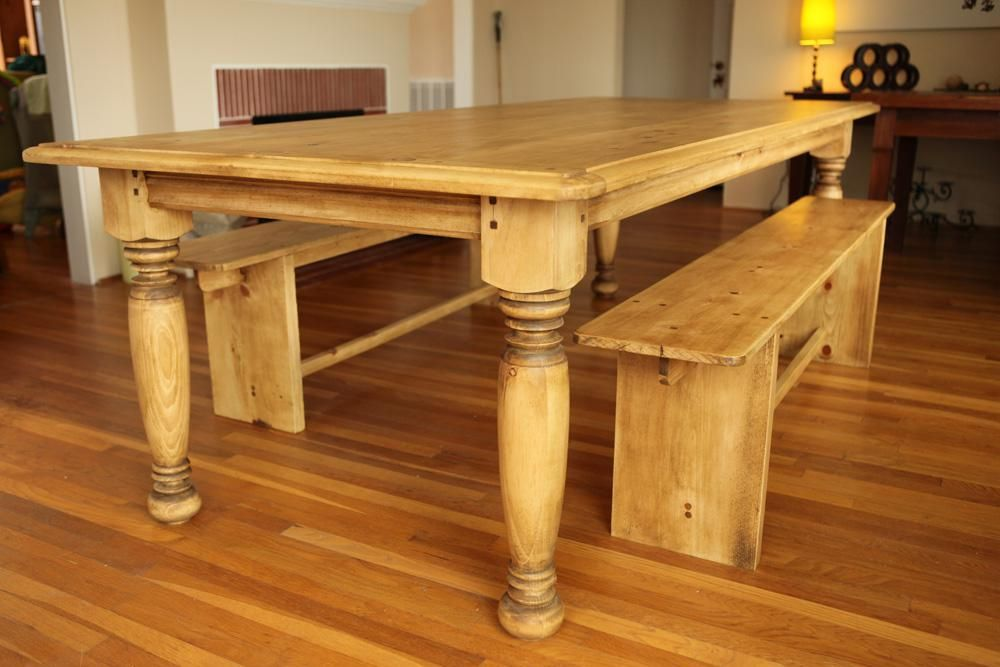 Custom made farm table w hand turned legs by farmhouse for Farm style kitchen table