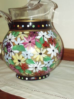 Custom Made Hand Painted Glass Pitcher