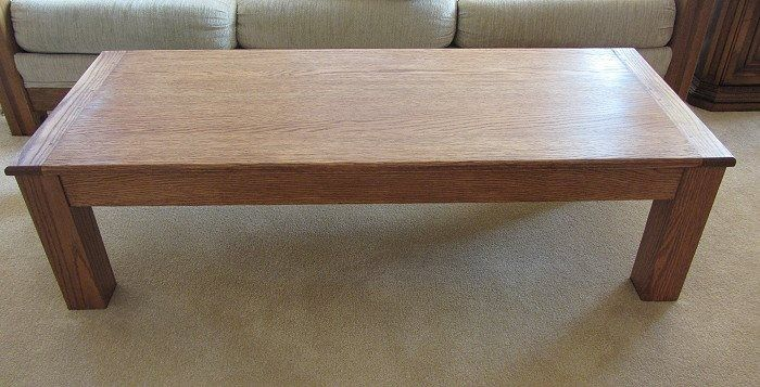 Custom Made Oak Coffee Table With Breadboard Ends By