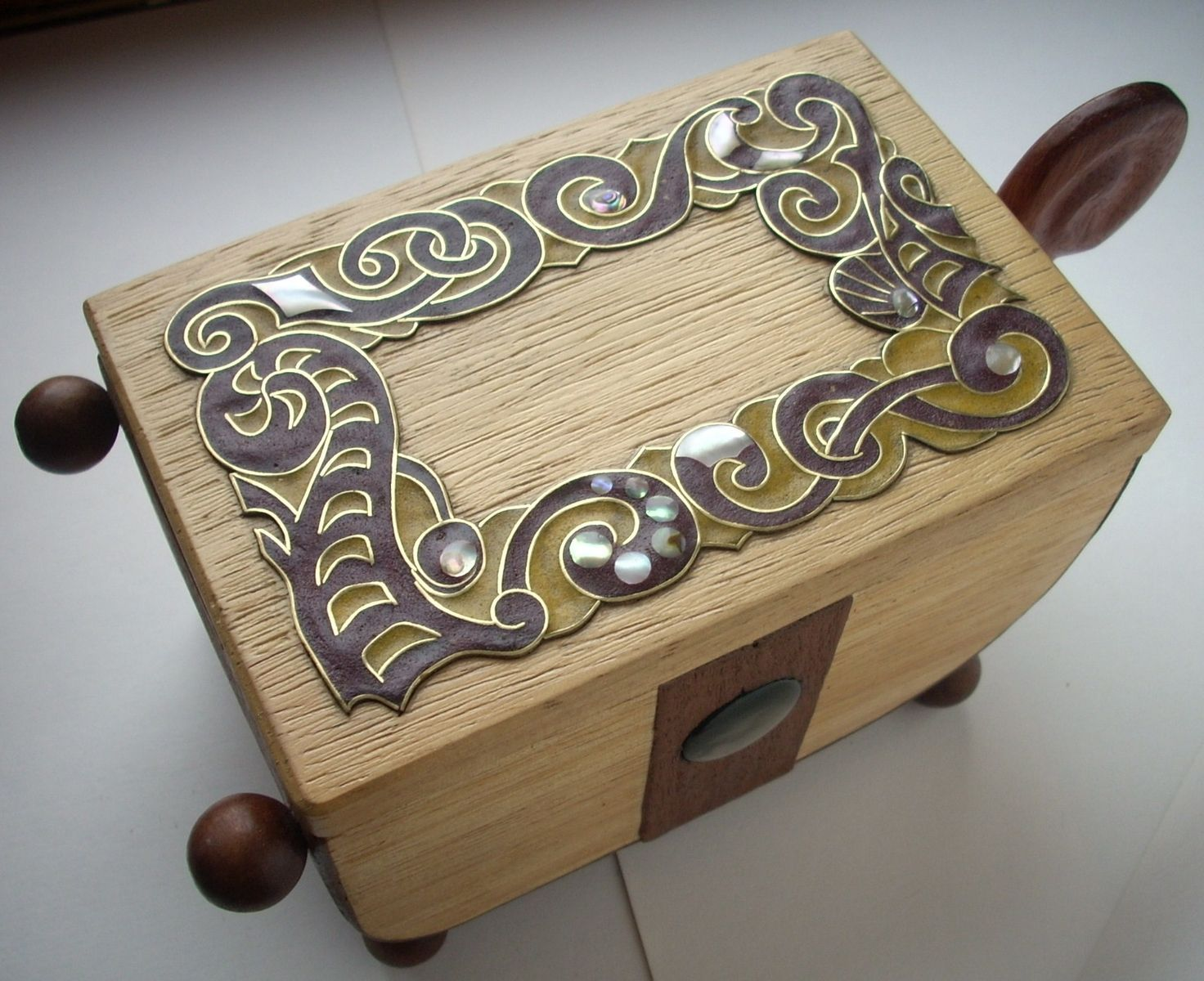 Hand made wooden inlaid jewelry box by wire inlay studio for Jewelry box made of wood