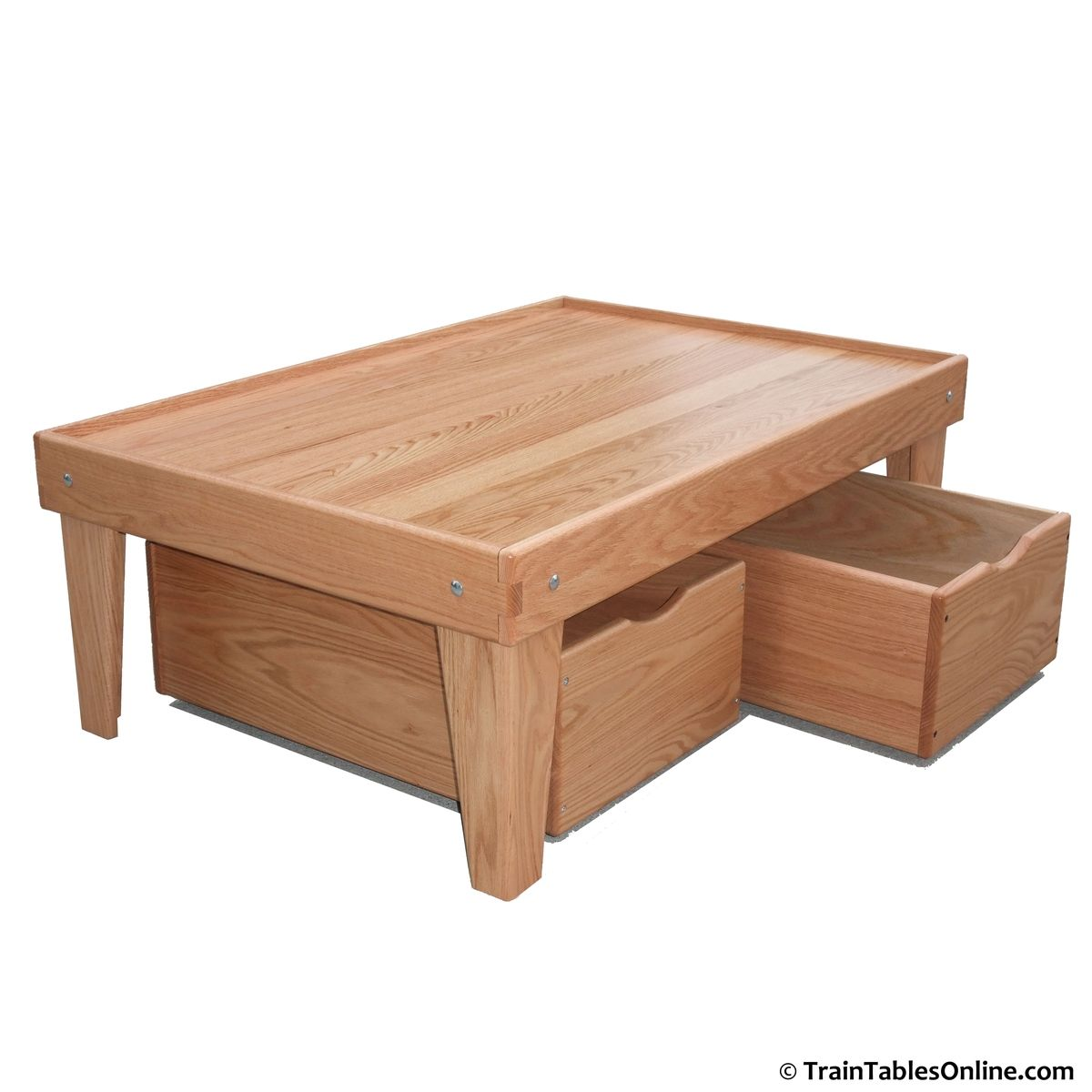 Hand Made Red Oak Train Table And Storage Bin Package By Train Tables Online
