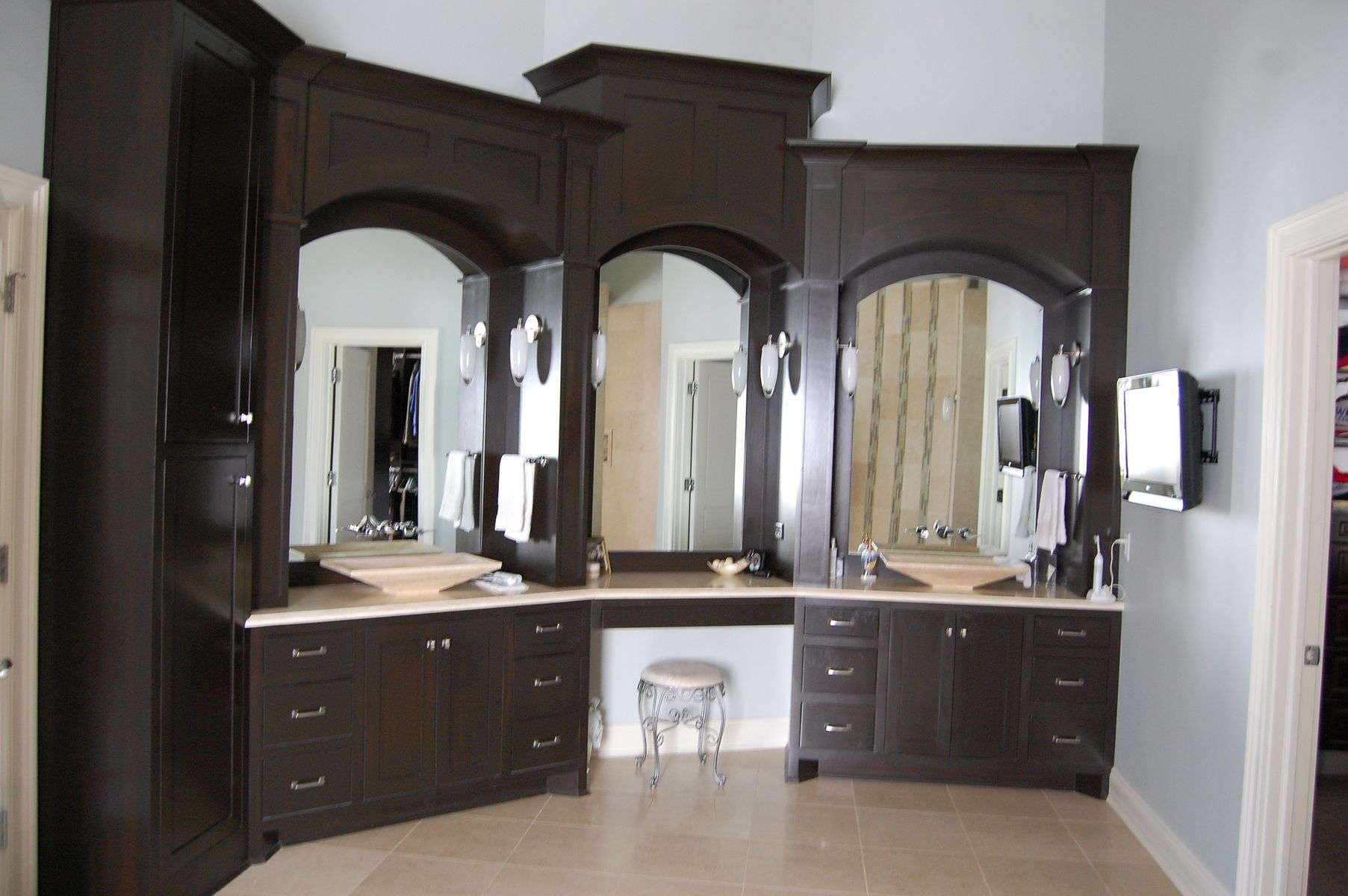 Handmade custom master bath cabinets by jr 39 s custom for Master bathroom cabinet designs