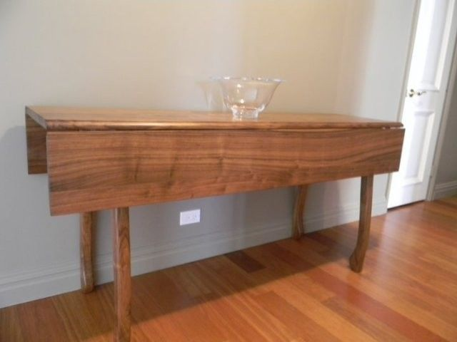 Hand crafted walnut drop leaf dining table by drew lambert for Drop leaf dining table