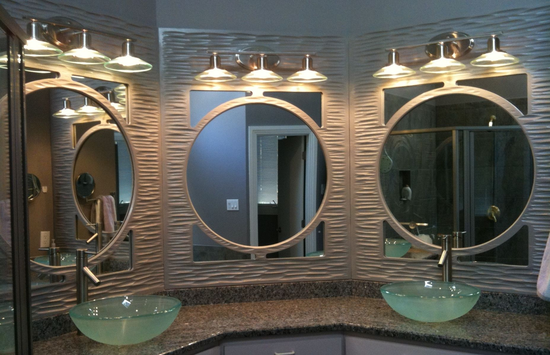 Custom textured mirror panels by jeffrey sgroi designs for Custom made mirrors