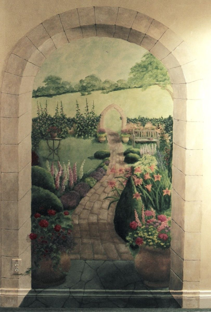 Handmade english garden mural by pompeii artisans for Mural garden