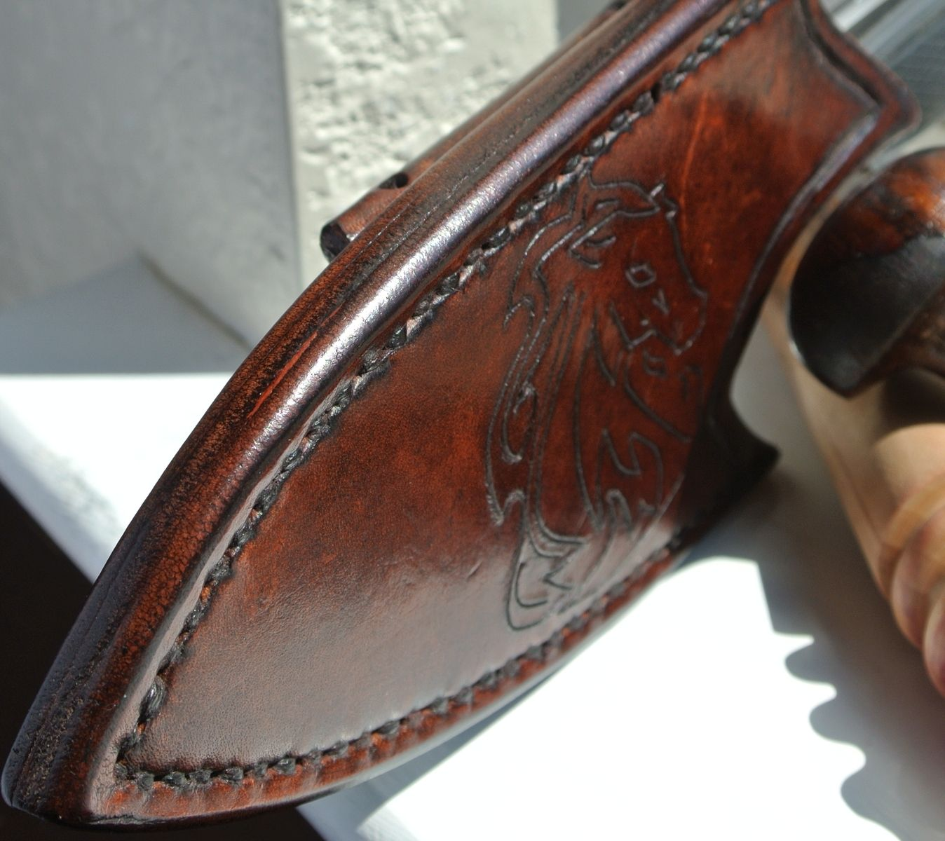 Handmade Leather Knife Sheath Horizontal Back Mounted By