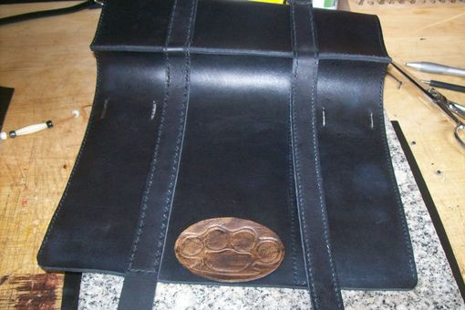 Custom Made Custom Leather Fork Bag In Black With Brass Knuckles