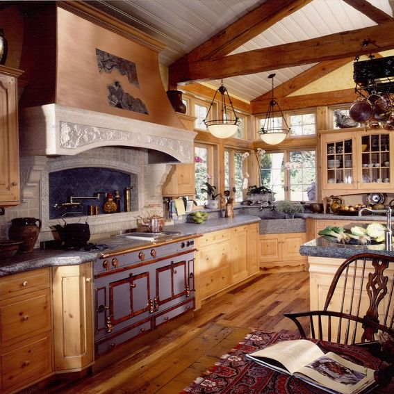 Handmade French Country Kitchen Remodel Of Wood, Stone