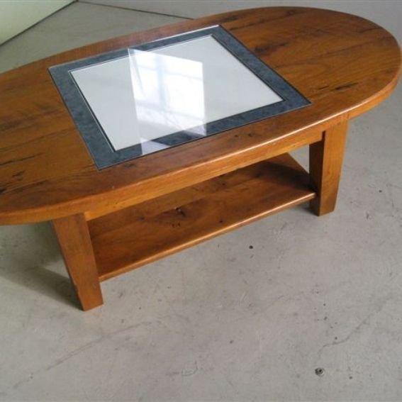 Hand Crafted Oval Coffee Table With Game Board Inlay By Ecustomfinishes Reclaimed Wood