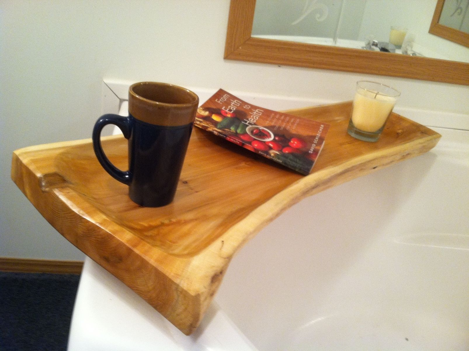 custom made live edge cedar bath tub caddy by