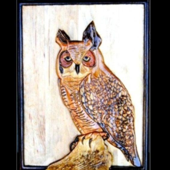 Hand crafted great horned owl relief carving by mark ash