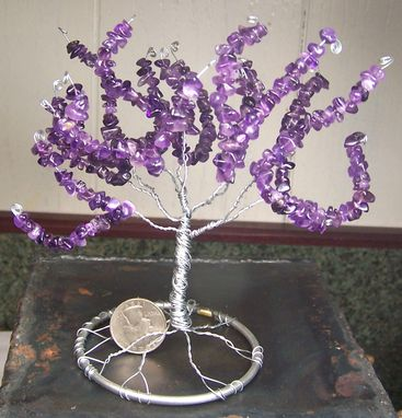 Custom Made Amethyst Gemstone Tree Of Life Sculpture - Genuine Amethyst - February Birthstone - Large