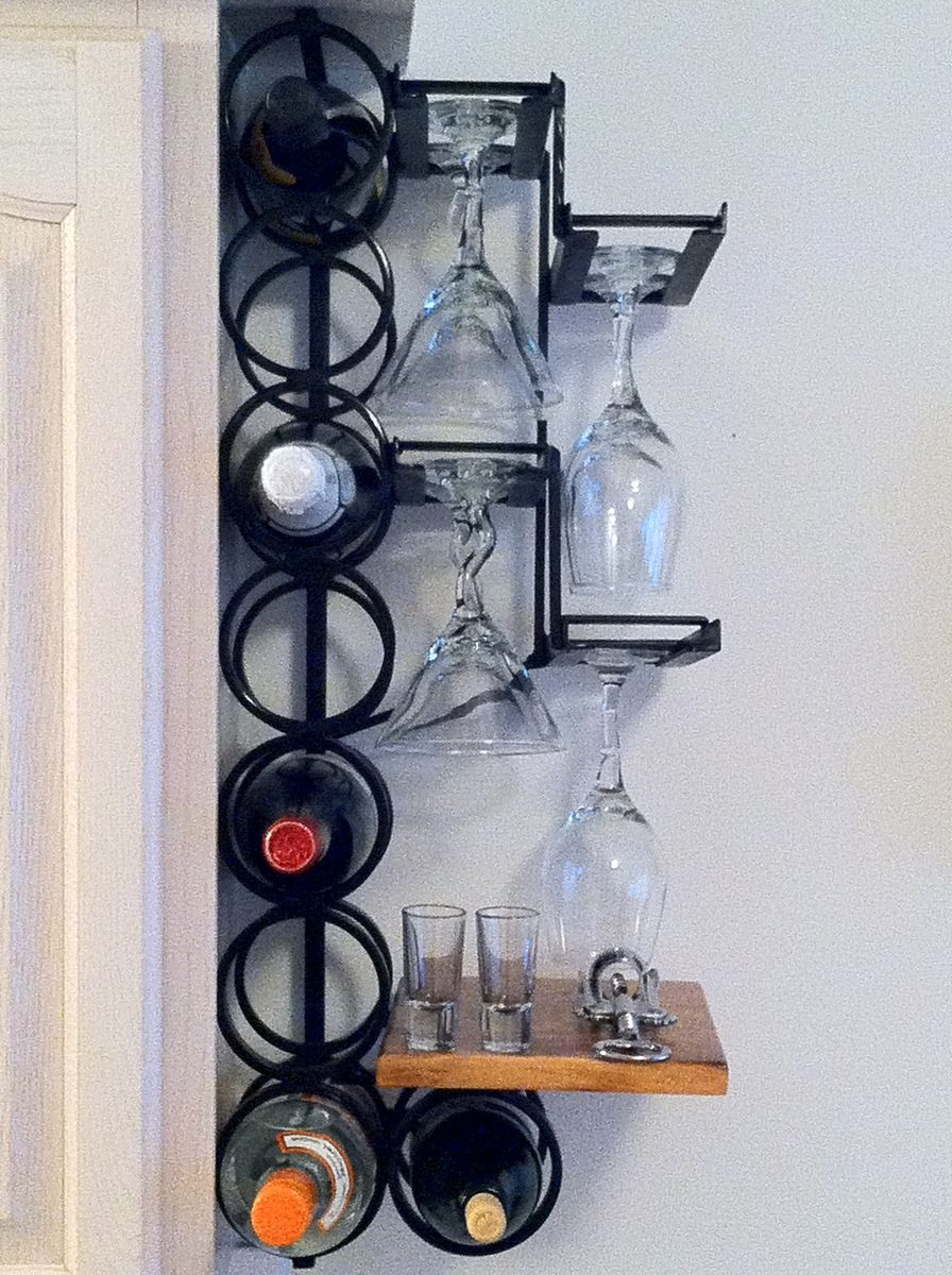 hand crafted 8 bottle 8 wine glass wrought iron wall