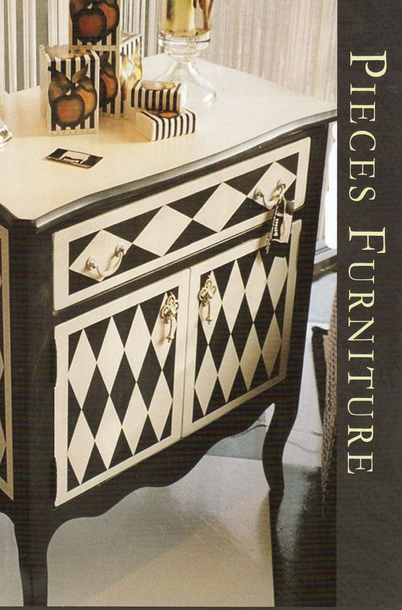 Hand Crafted Side Chests In Black And White Geometry By