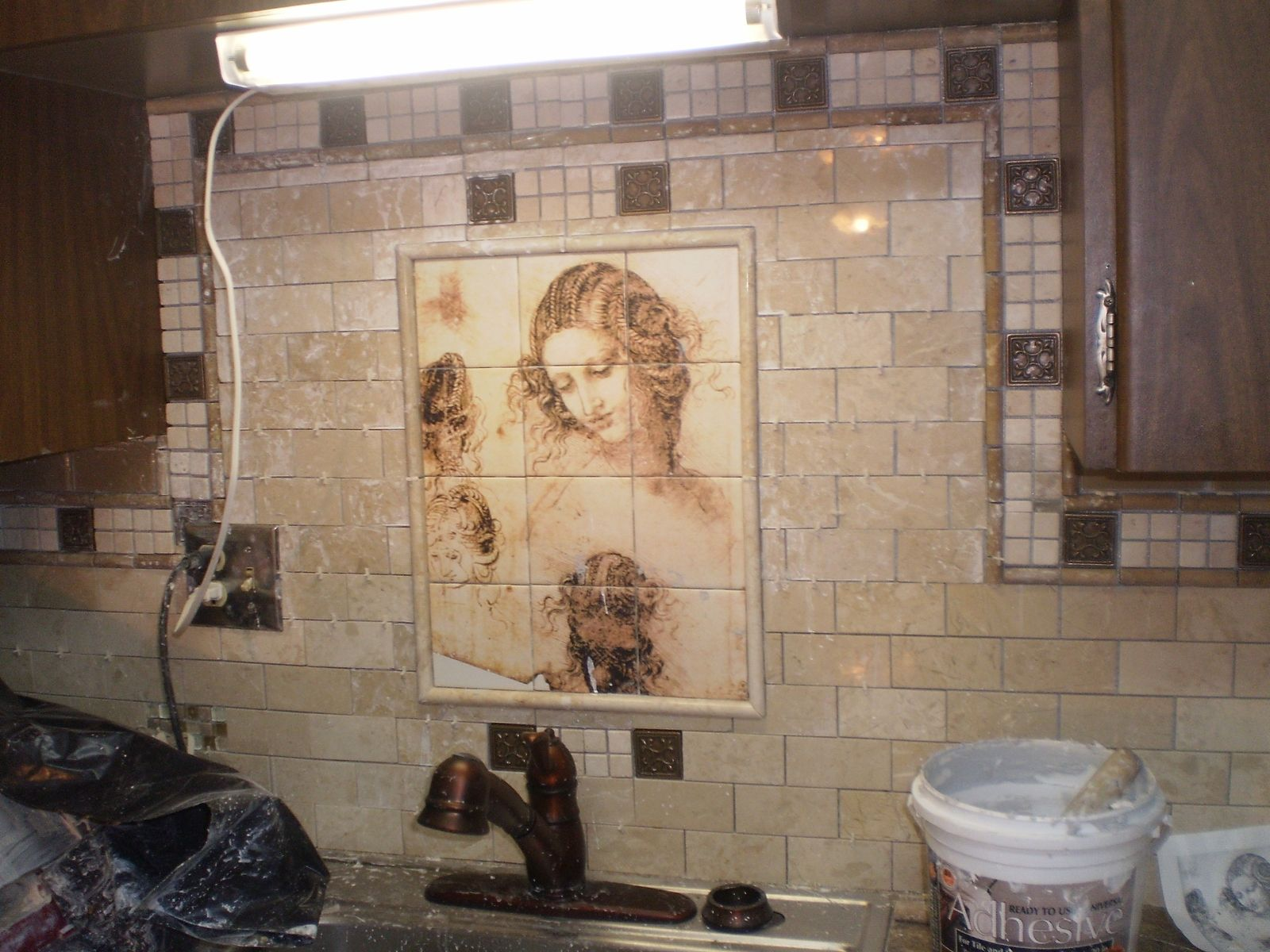 Handmade ceramic or marble kitchen tile mural by flekman for Custom tile mural