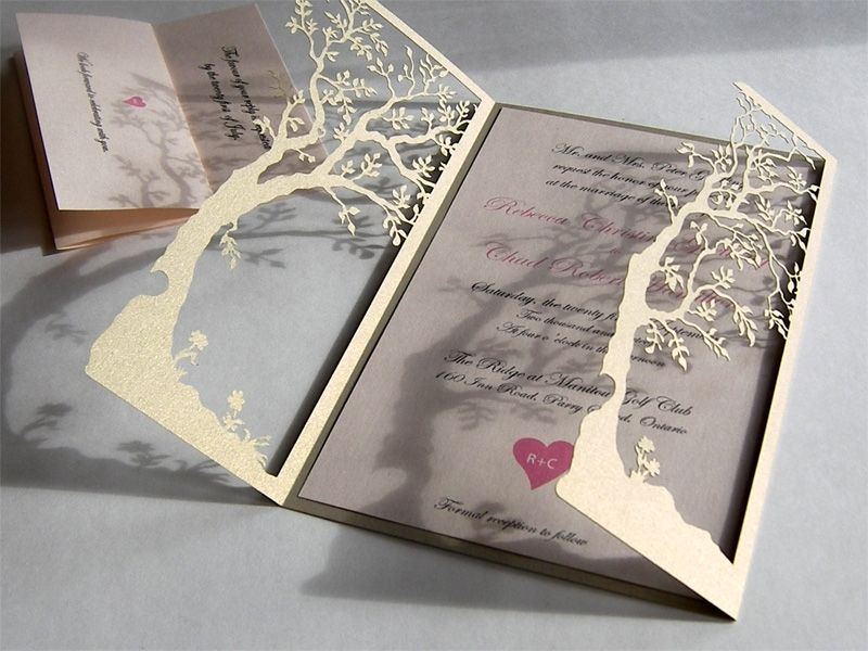 Hand Crafted Love Tree Laser Cut And Handmade Wedding Invitations In Premium Card Stock By