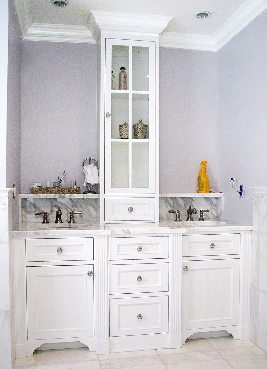Hand crafted master bath vanity by the woodworker 39 s studio for Custom bathroom vanity designs