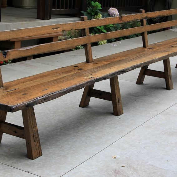 Custom Made Live Edge Barnwood Bench With Back Rest 15 39 Long By Intelligent Design Woodwork
