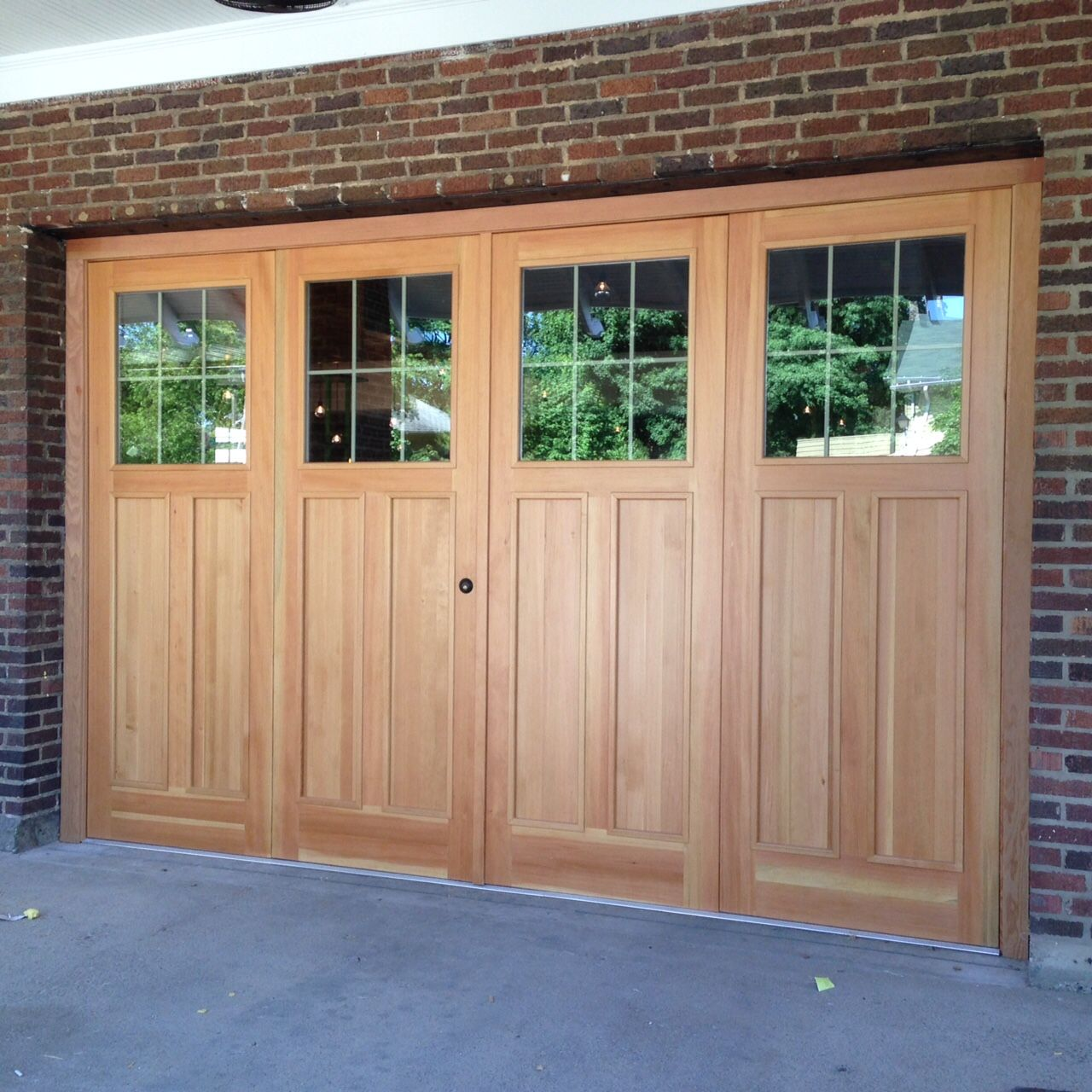Custom 9 39 x 14 39 douglas fir bi fold garage doors by the for Custom made internal bifold doors