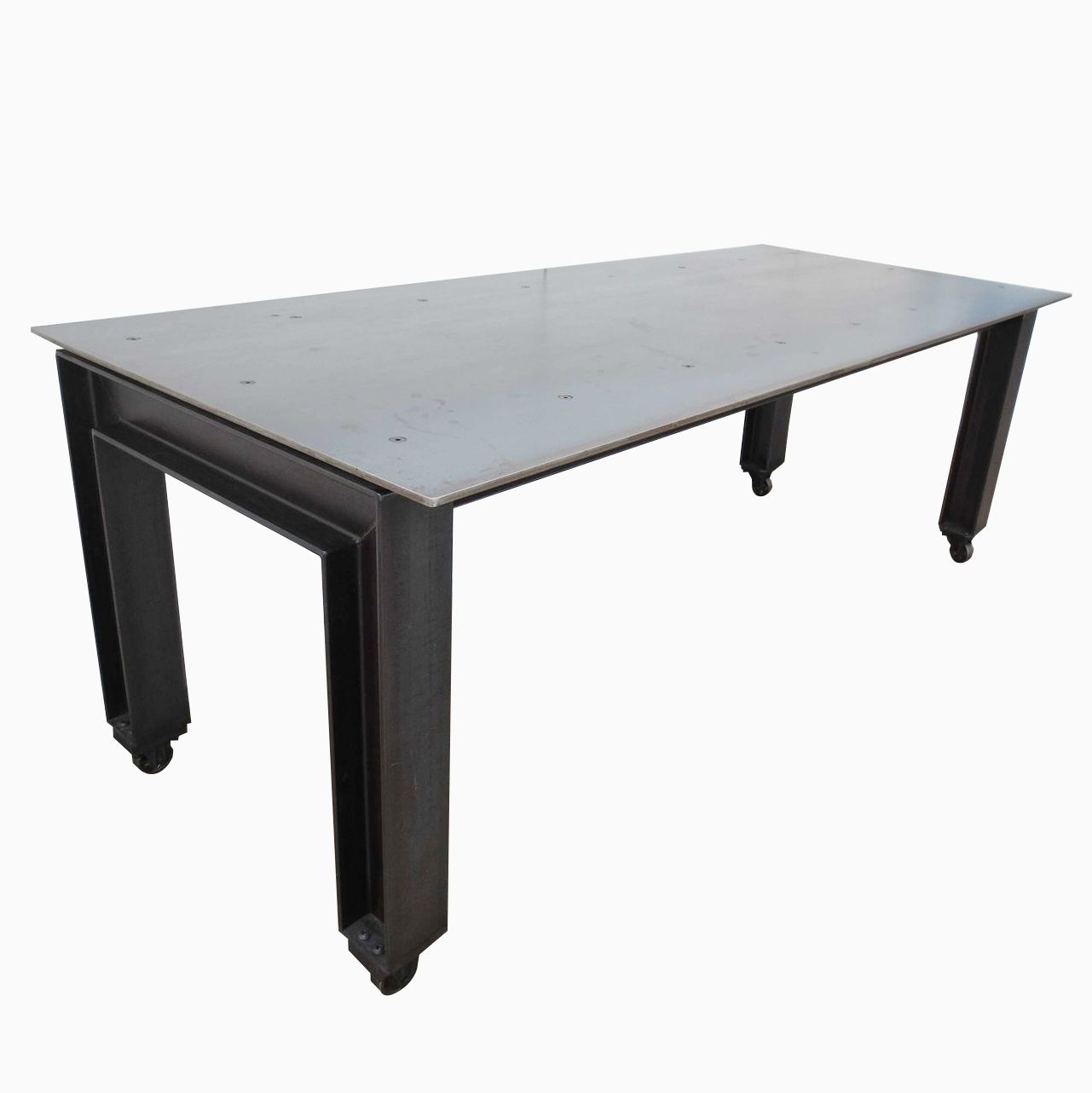 Hand made metal industrial modern plate steel table by for Steel dining table design