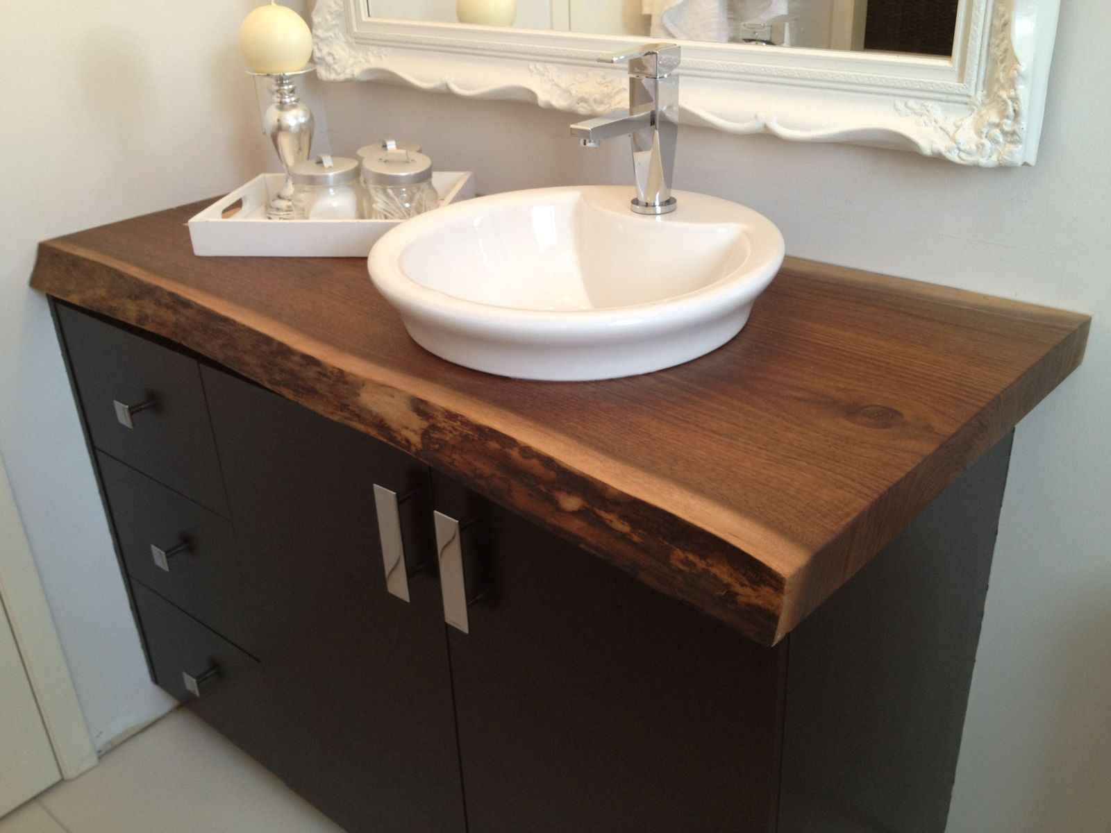 Hand made live edge black walnut bathroom countertop by for Bathroom countertops