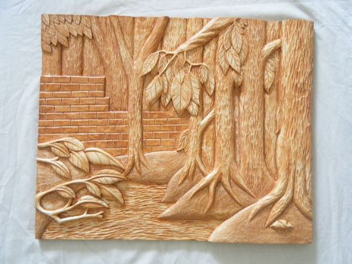 Buy a hand crafted forest relief carving made to order