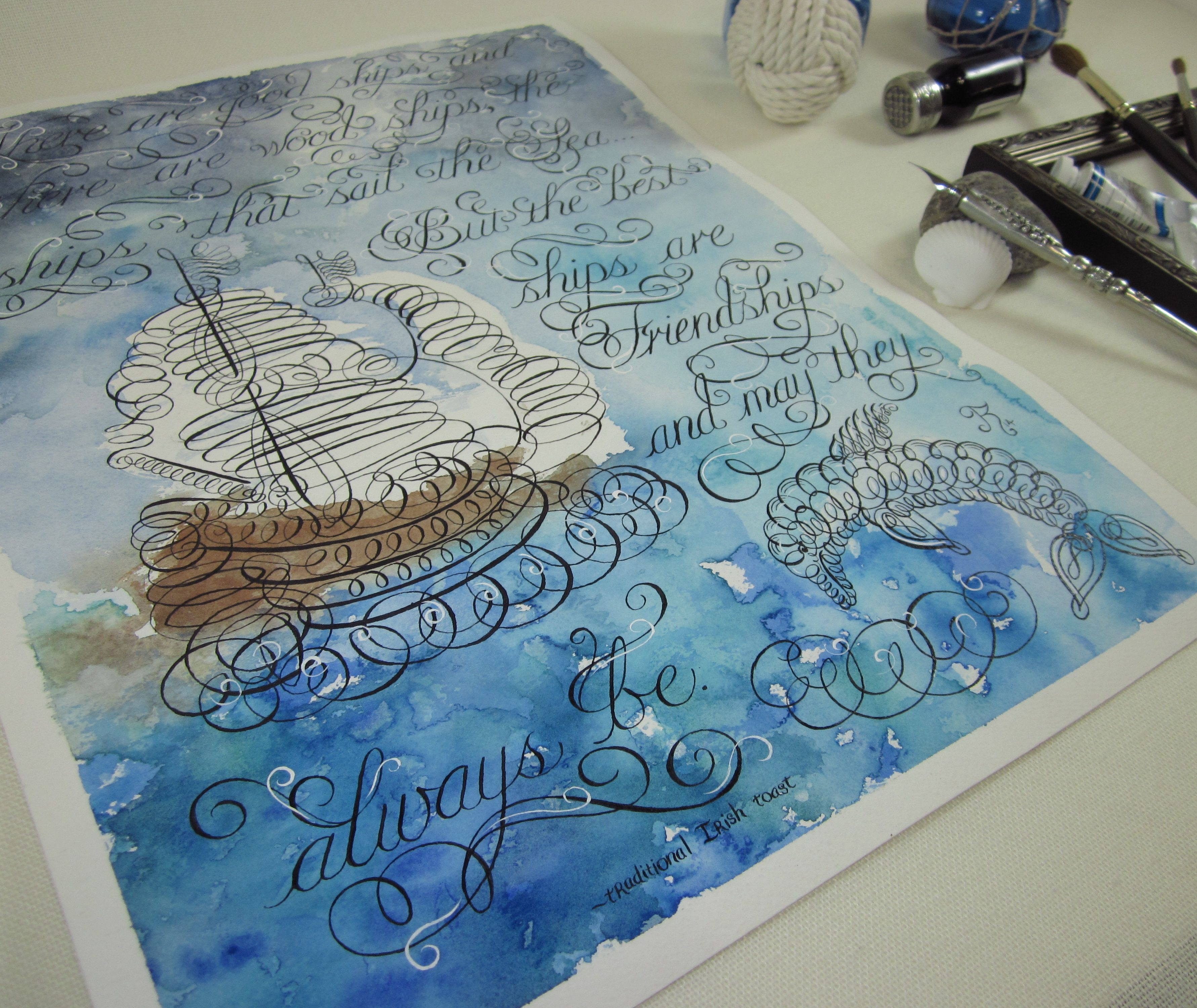 Flourished Calligraphy and Watercolor Art