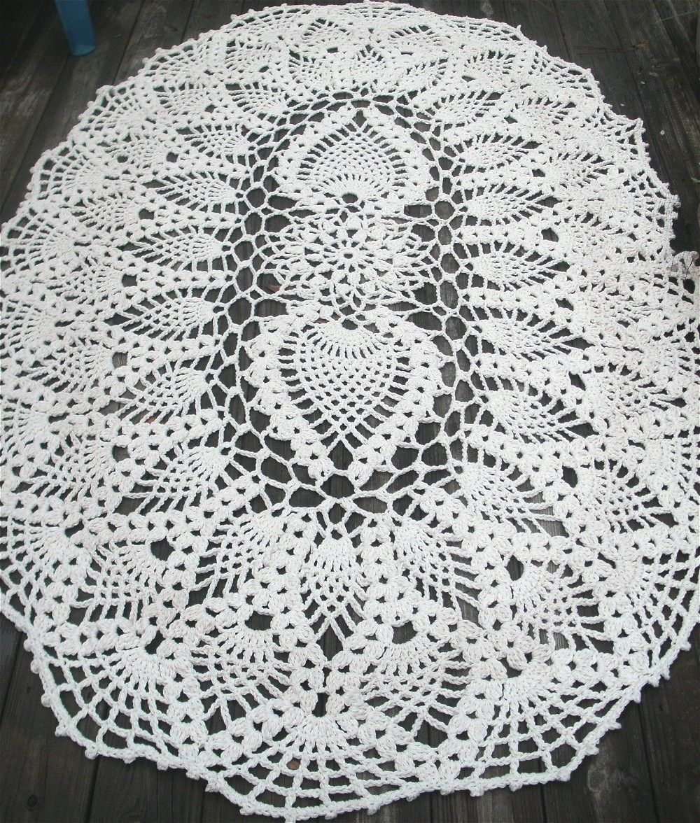 Handmade Cotton Crochet Rug In Huge 7 Foot Oval Pineapple ...