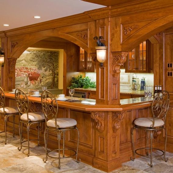 Handmade Stately European Bar And Wine Room By Superior