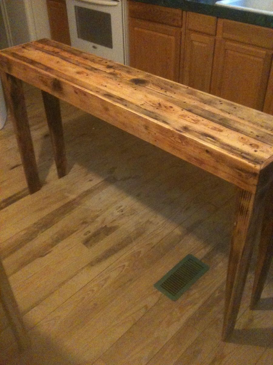 Hand made rustic pine distressed sofa table by robert for Long console table behind couch