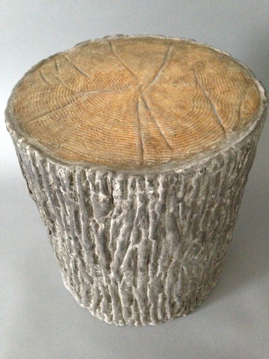Hand Crafted Concrete Faux Bois Garden Stool By 910