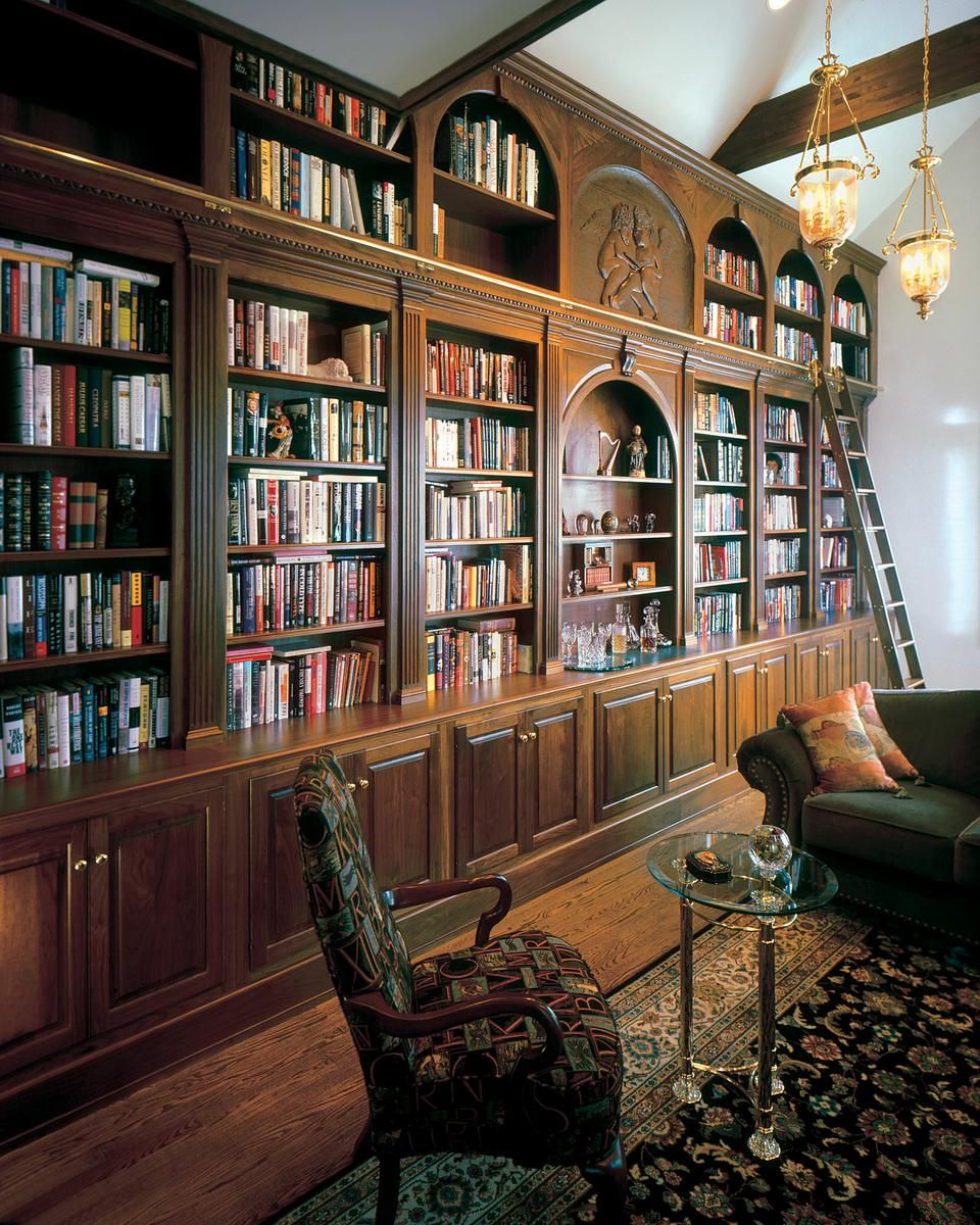 Hand Crafted Walnut Library Wall With Ladder By Odhner