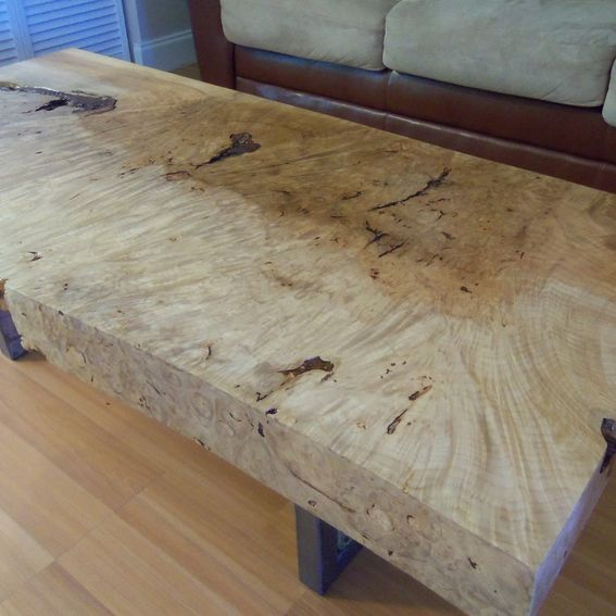 Live Edge Square Coffee Table: Handmade Live Edge Maple Burl Coffee Table With Square