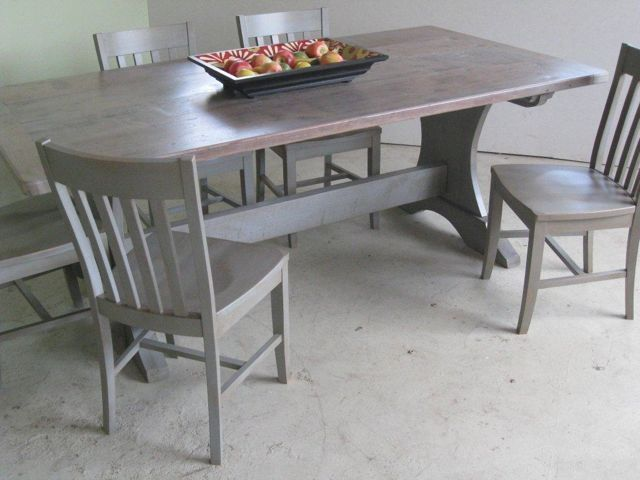 Handmade Pine Trestle Base Dining Table With Drift Wood