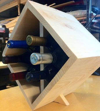 Hand Made 6 Bottle Table Top Triangle Wooden Wine Rack By