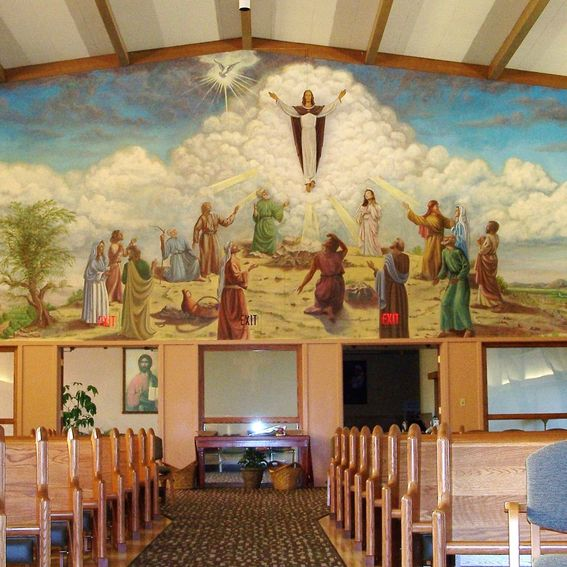 handmade wall mural at ascension catholic church portland custom made store logo and wall mural by ckpaints