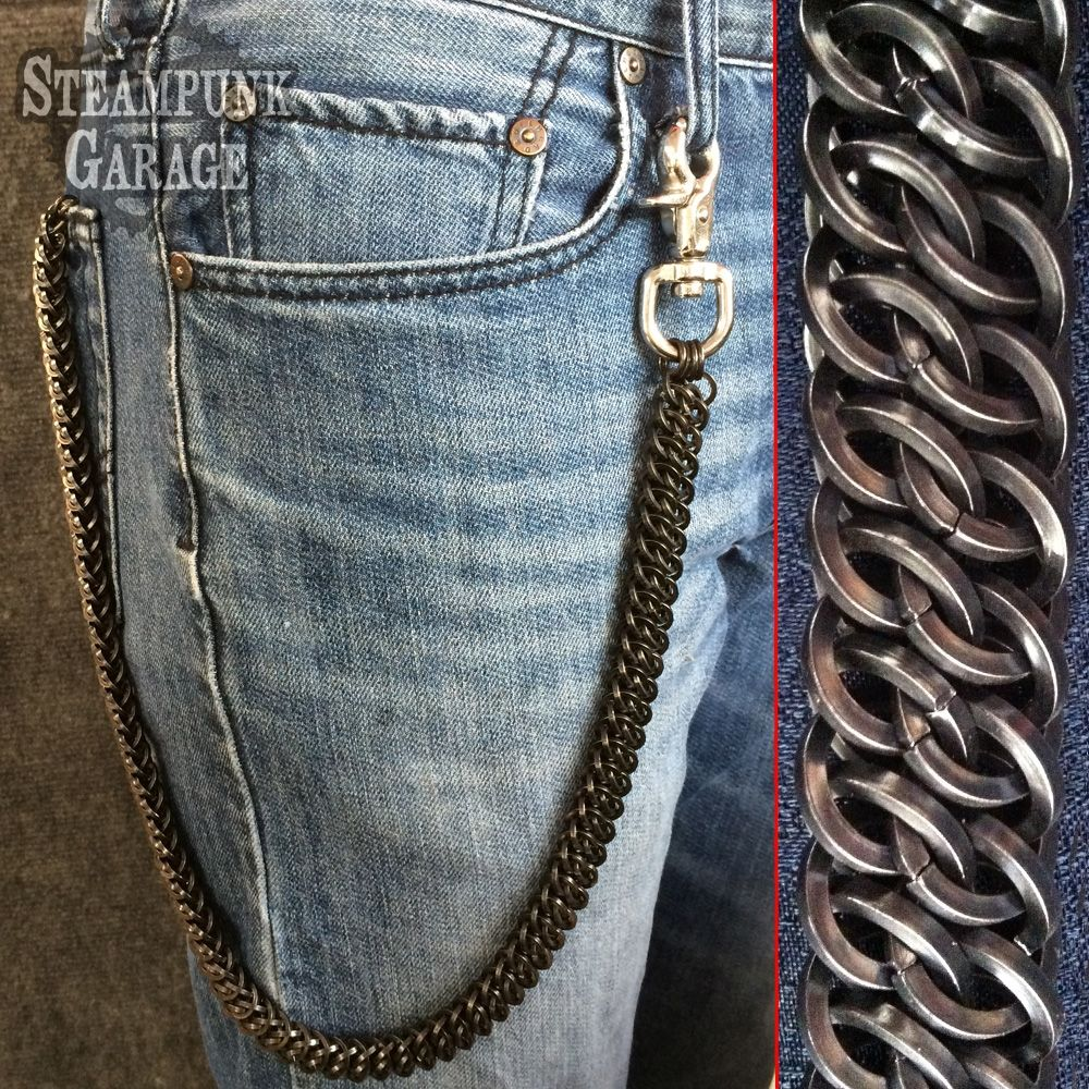 Custom Made Wallet Chain Black Square Steel Heavy Duty