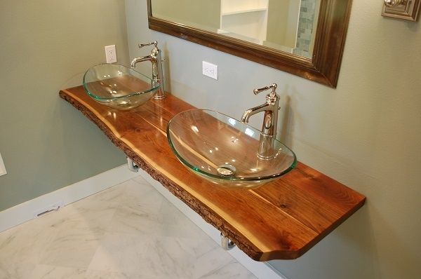 Vanity Wood Top : Hand made live edge black walnut vanity top by gleman