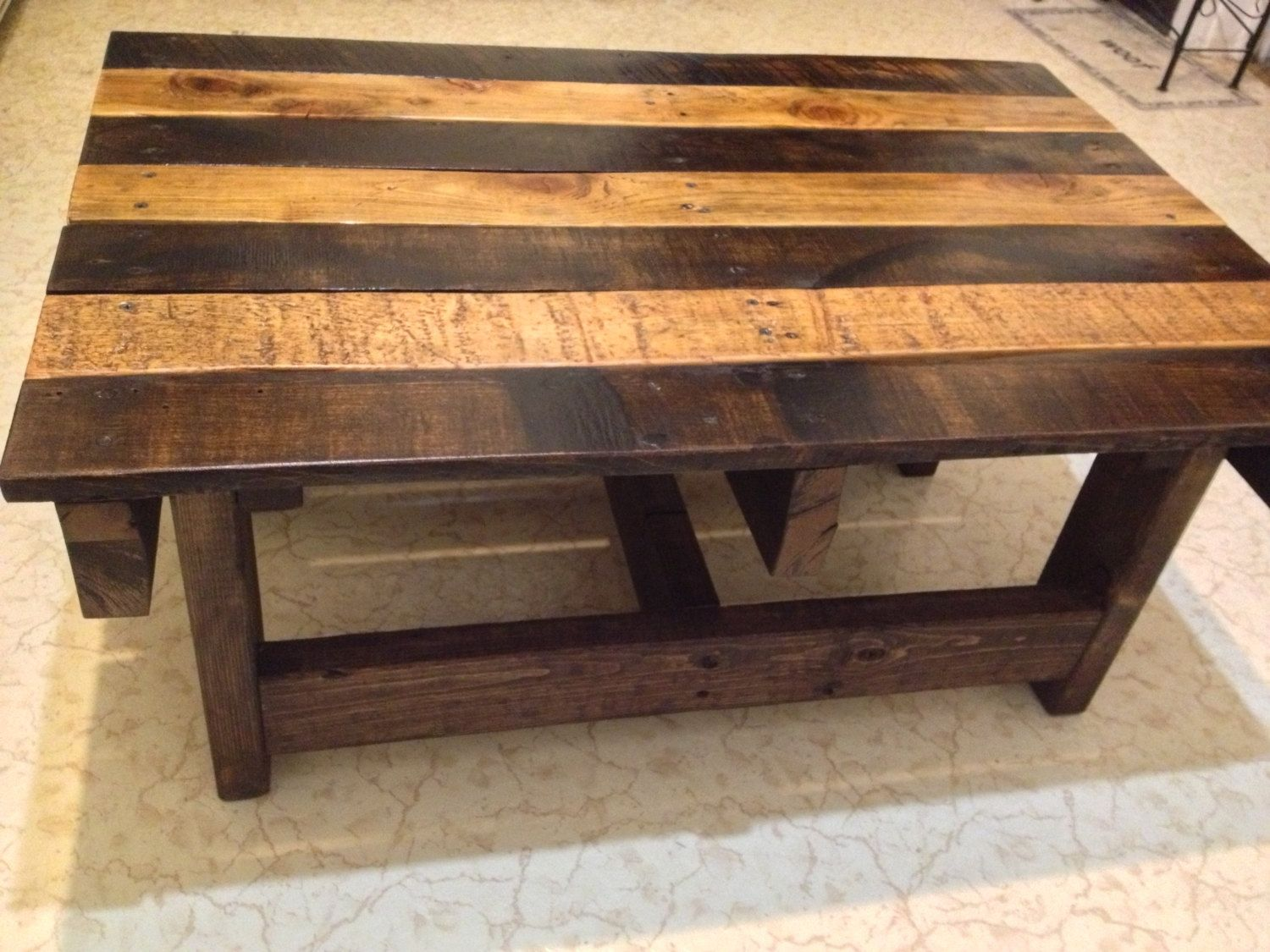 Hand crafted handmade reclaimed rustic pallet wood coffee for Wooden table designs images