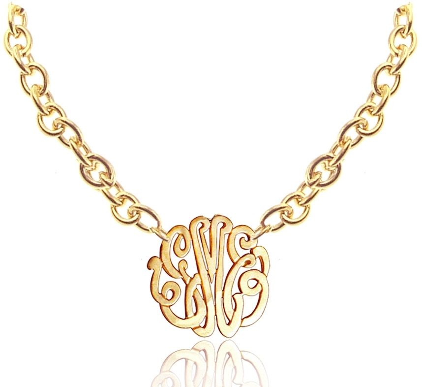 handmade small monogram necklace with large chain