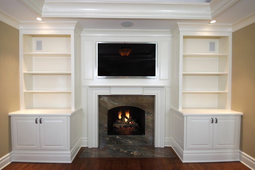 Hand Crafted Built In Cabinets With Mantel 1 By Fanatic